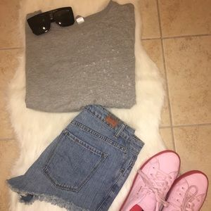 Grey distressed sweatshirt